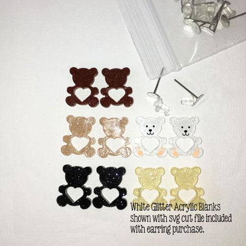 Teddy Bear DIY Acrylic Blank Earrings