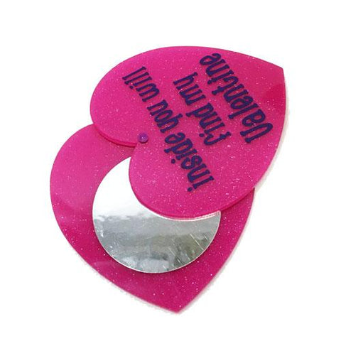 Valentine's Day Heart Shape Acrylic DIY Faux Compact - Great for Card Making - Give Instead of Candy Goodie - CraftChameleon