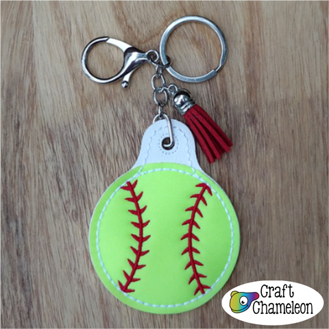 In The Hoop Embroidery Softball/Baseball Key Fob Design Only