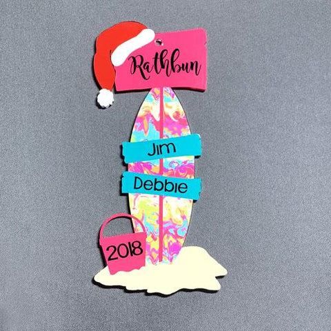 Beachy Street Sign Post Acrylic Shape ~ Christmas Personalized Ornament - CraftChameleon