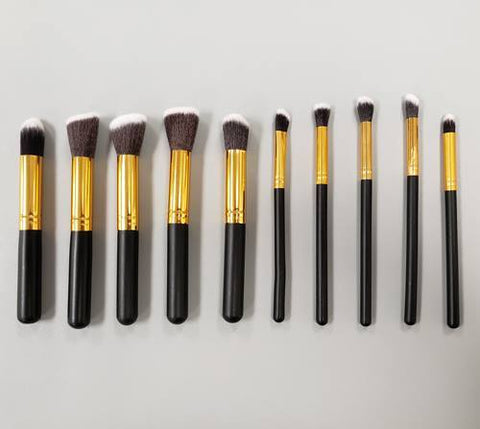 Blank Make Up Brush Sets - 10 piece Premium Synthetic Makeup Brushes - CraftChameleon