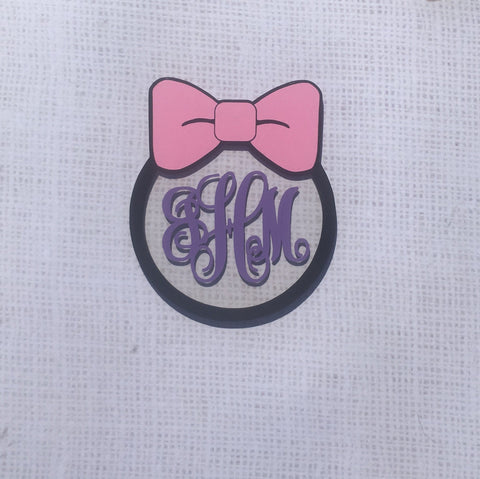 Bow with Monogram Circle Shaped Acrylic - CraftChameleon  - 1