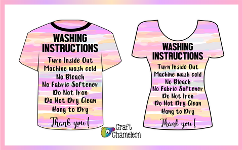 Care Instructions for Shirts Design Only