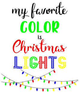 My Favorite Color is Christmas Lights Wordart Design Only