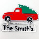 Personalizable Blank Acrylic Christmas Truck Mini Sign/Ornament  Set