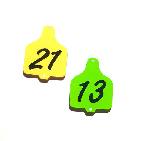 "1.5"" Acrylic Cow Ear Tag TWO HOLES Shape - CraftChameleon  - 1"