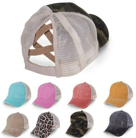 Mess Bun Cap Ponytail Hat Truckers Criss Cross CrissCross  Hat