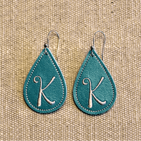 "In The Hoop Embroidery Faux Leather 2"" Elongated Drop Earrings Design Only"