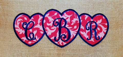 Embroidery Monogram Heart Trio Design Only