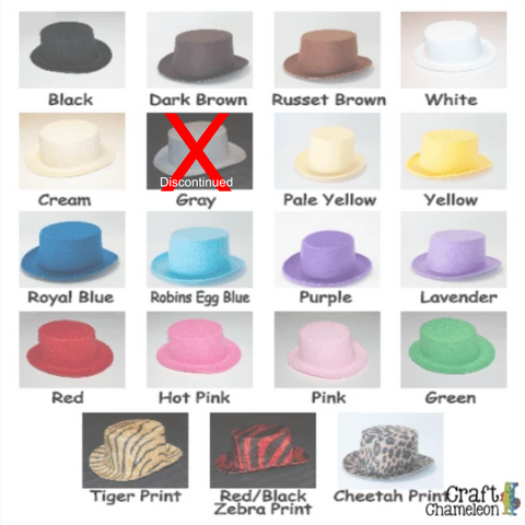 Mini Felt Top Hats ~ Set of 5