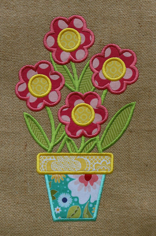 Embroidery Flower Pot Applique Design Only