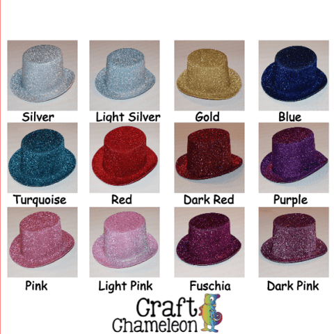 Set of 5 ~ Mini NON-Flaking GLITTER Top Hats - CraftChameleon