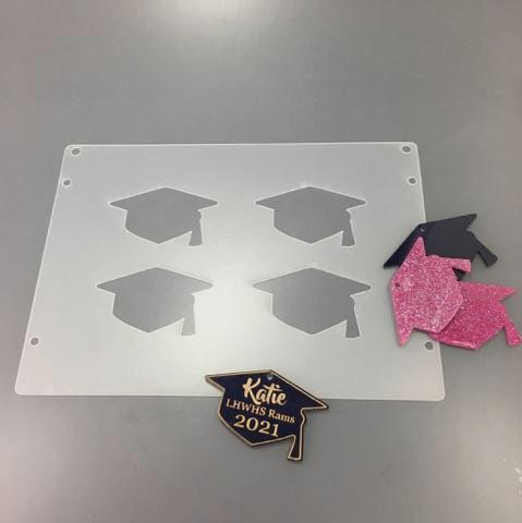 Graduation Cap Plastic Template for Etching
