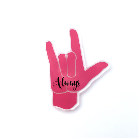 I Love You Sign Language Hand Acrylic Shape - CraftChameleon