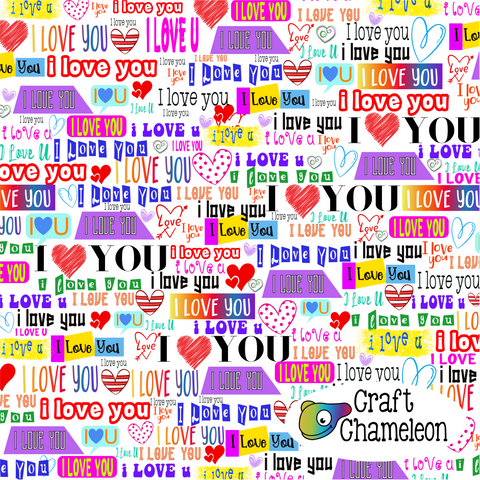 I Love You Wordart Sublimation Digital Design