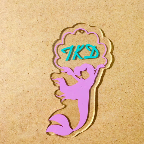 Mermaid with Shell Monogram Acrylic Shape - CraftChameleon  - 1
