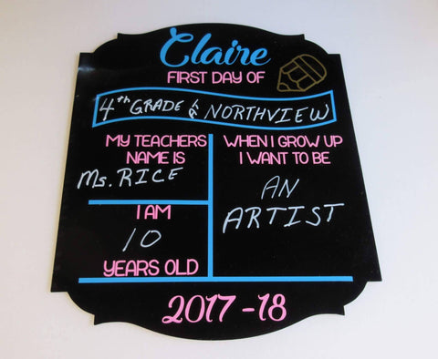 Black Acrylic Board Shaped for School 1st & Last Day Photos - CraftChameleon