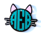 Kitty Cat Head Monogram Acrylic Shape - CraftChameleon