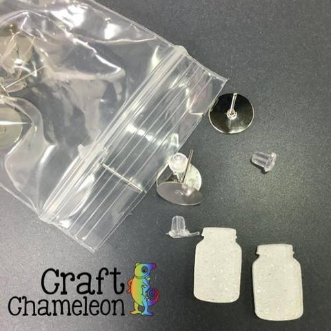 Mason Jar DIY Earrings - 40+ colors and finishes - Hypoallergenic Silver Tone Posts- Sold in Sets of 6 - CraftChameleon  - 1