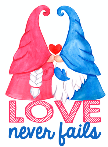 Love Never Fails Garden Flag Sized Sublimation Transfers