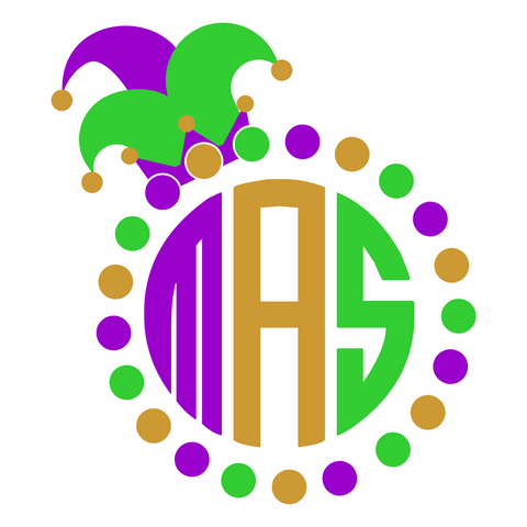 Mardi Gras Monogram Circle Digital Design