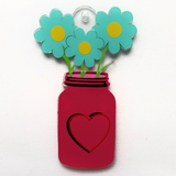 Mason Jar with Flowers Acrylic Blank Shape