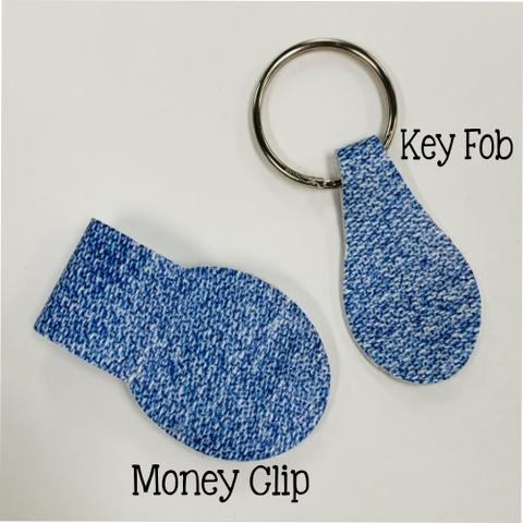 Money Clip or Key Fob Leatherette Digital Design