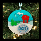Christmas Cabin Winter Scene 3D Acrylic DIY Peel and Stick Ornament - CraftChameleon