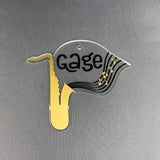 Saxophone with Monogram Area Acrylic Blank Shape