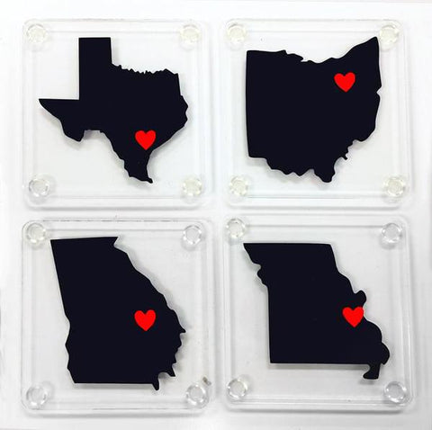 USA States with Heart for Coasters Digital Designs