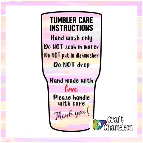 Tumbler Care Instruction Design Only