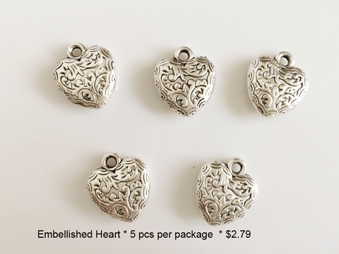 Embellished Heart Shaped Charms - CraftChameleon
