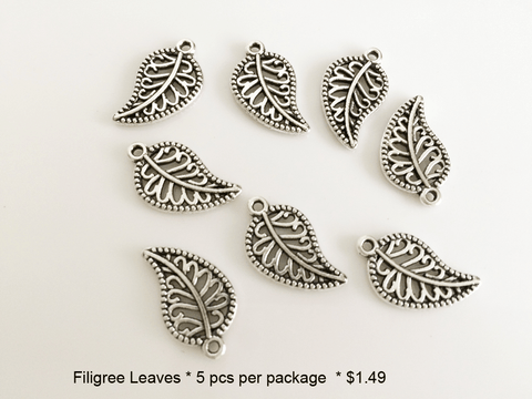 Filagree Leaf Charms - CraftChameleon