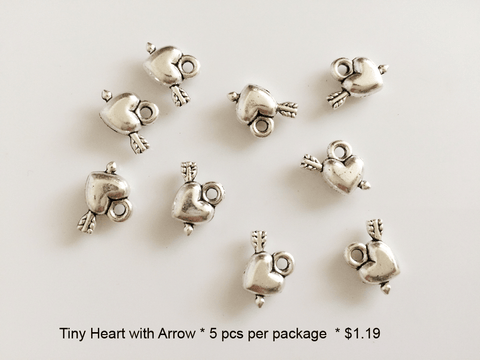 Tiny Heart with Arrow Charms - CraftChameleon