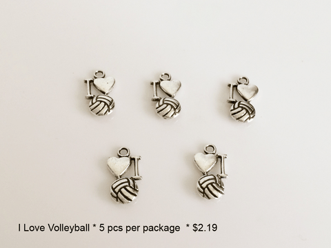 I (heart) Volleyball Charms - CraftChameleon