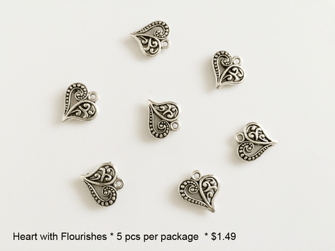 Heart with Flourishes Charms - CraftChameleon