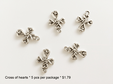 Cross of Hearts Charms - CraftChameleon