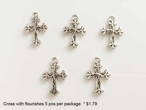Cross with Flourishes Charms - CraftChameleon