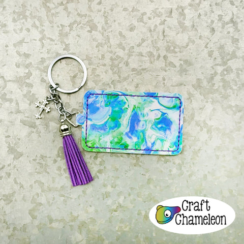 In the Hoop Wide Rectangle Leatherette Key Fob Design Only