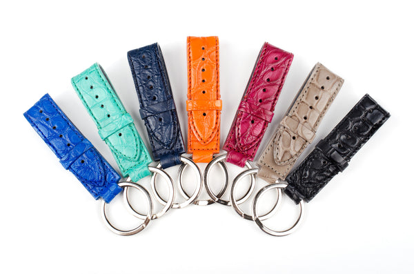 Alligator, Left to Right: Mykonos Blue, Jade, Navy, Tangerine, Raspberry, Taupe, Black