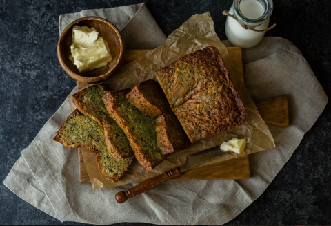 Matcha and Black Sesame Banana Bread