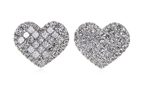 Large Diamond Heart Earrings
