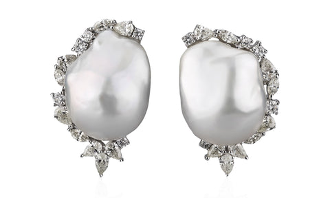 Diamond Crescent Baroque Studs