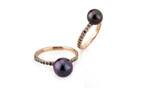 Galactic Double Pearl and Black Diamond Ring