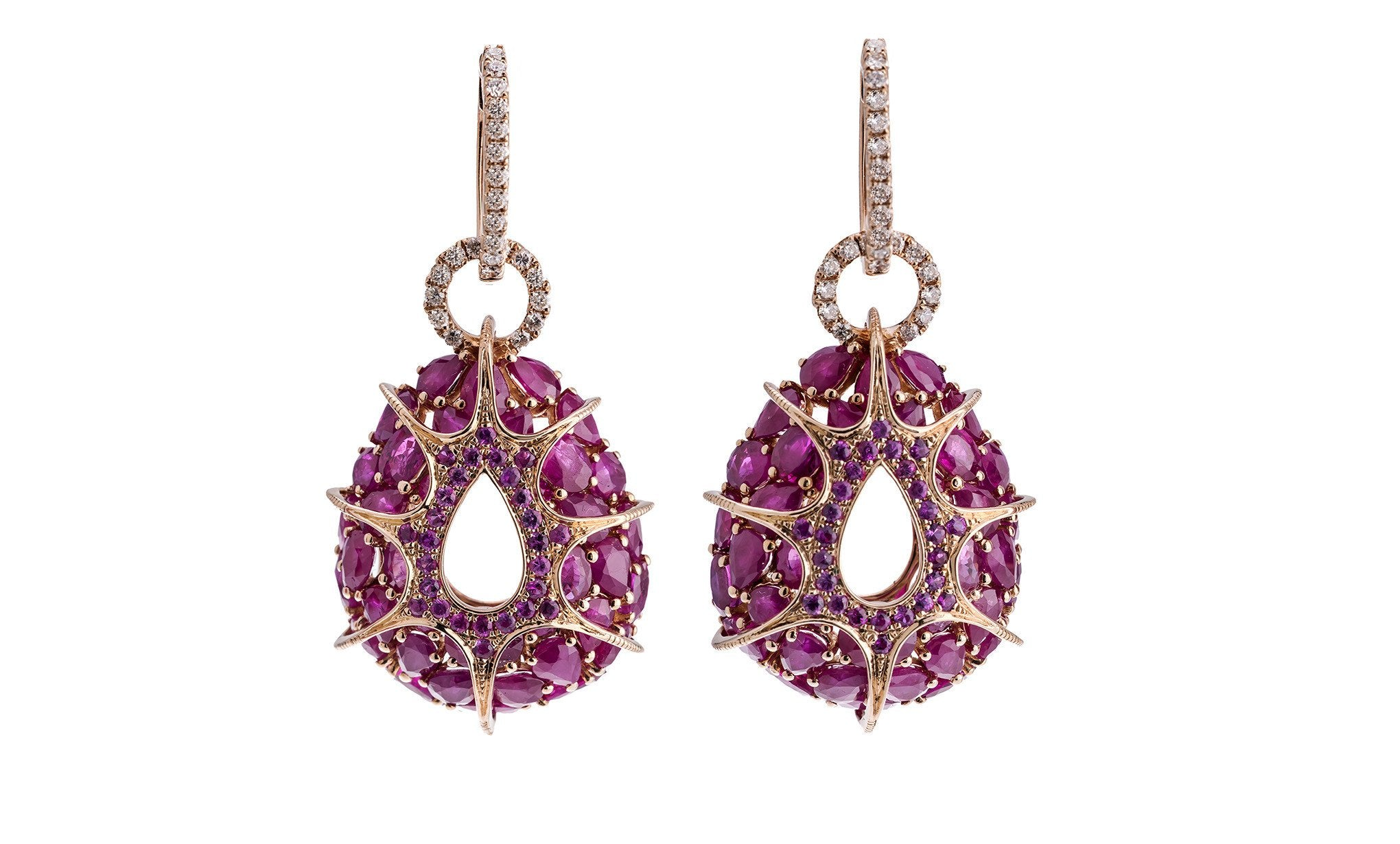 earrings rose diamonds ruby gold with in jewellery tw