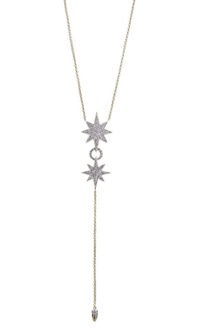 Wish Upon a Star Necklace - Double Star with Short Drop