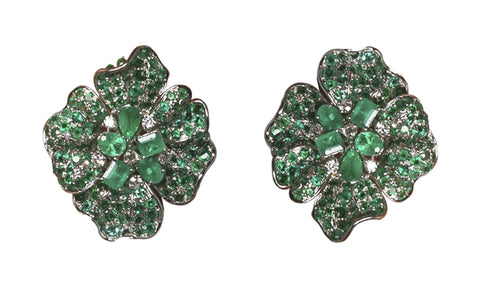 Emerald & Diamond Clover Earrings