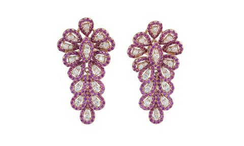 Ruby & Diamond Firework Earrings