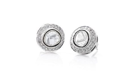 Oval White Uncut Diamond Studs