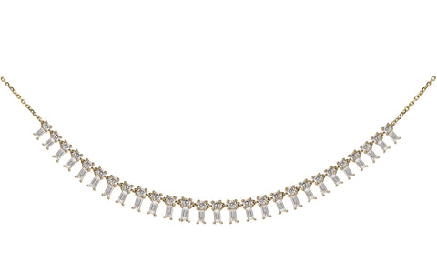 Baguette Diamond Track Necklace